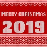 Merry Christmas, New Year Seamless Knitted Pattern with number 2019. Knitting Sweater Design. Wool Knitted Texture. stock illustration