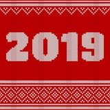 Merry Christmas, New Year Seamless Knitted Pattern with number 2019. Knitting Sweater Design. Wool Knitted Texture. vector illustration