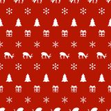 Merry Christmas New Year seamless pattern with snowflakes christmas tree deer. Holiday trendy background. Xmas winter Stock Photo