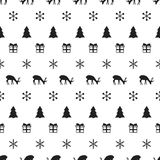 Merry Christmas New Year seamless pattern with snowflakes christmas tree deer. Holiday trendy background. Xmas winter Royalty Free Stock Photos
