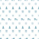 Merry Christmas New Year seamless pattern with snowflakes christmas tree deer. Holiday trendy background. Xmas winter Stock Images