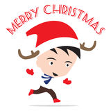 Merry Christmas New Year with smiling boy in , Winter holiday theme white background Stock Image