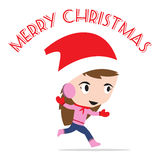 Merry Christmas New Year with smiling girl in vector, Winter holiday theme white background Royalty Free Stock Photo