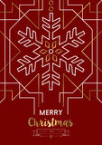 Merry christmas new year snowflake gold deco retro. Merry Christmas Happy New Year snowflake frame design in gold art deco retro style. Ideal for elegant holiday Royalty Free Stock Photography