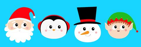 Merry Christmas. New Year. Snowman Santa Claus Elf Penguin bird round face head icon set. Cute cartoon funny kawaii baby character royalty free illustration