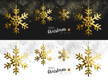 Merry christmas new year social media banner gold. Merry Christmas Happy New Year social media cover banner set with gold low poly origami snowflake shapes on Royalty Free Stock Image