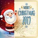 2019 Merry Christmas & New year symbol. Santa Claus. On a winter background of greeting card with gifts, Christmas toys, stars, and candy sweets.Decoration of vector illustration