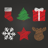 Merry Christmas and New Year symbols Stock Image