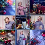 Merry christmas and new year theme collage composed of different images stock image