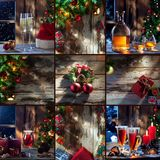 New year collage. Merry christmas and new year theme collage composed of different images royalty free stock image
