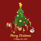 Merry Christmas New Year tree card trolls flat isometric vector. Merry Christmas Happy New Year flat 3d isometry isometric concept web infographics vector Royalty Free Stock Image