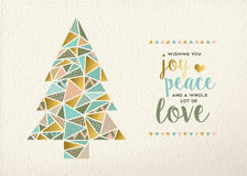 Merry Christmas New Year Triangle Tree Gold Retro Stock Photos
