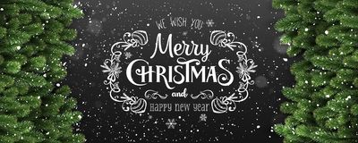 Merry Christmas and New Year Typographical on dark background with fir branches, lights, snowflakes, stars. Xmas theme. Vector Illustration royalty free illustration
