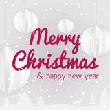 Merry Christmas and New Year typographical poster. Vector Illustration. Christmas and New Year Typographical Christmas background with winter landscape and stock illustration