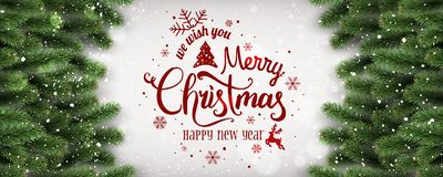 Merry Christmas and New Year Typographical on white background with fir branches, lights, snowflakes, stars. Xmas theme. Vector Illustration vector illustration