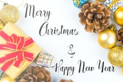 Merry Christmas and New Year typographical on white background w royalty free stock image
