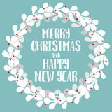 Merry Christmas and New Year vector card with wreath Stock Photo