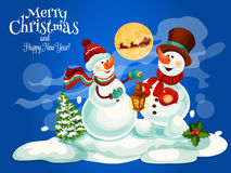 Merry Christmas, New Year vector greeting card Royalty Free Stock Photo