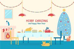 Merry Christmas and New Year Vector Illustration. Merry Christmas and happy New Year, banner with served table, fireplace and traditional decorated tree, dog and Stock Image