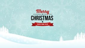 Merry Christmas and New Year 2018 vintage badge on the shining landscape background. Holiday winter background with falling snow. Landscape background with Stock Image