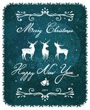 Merry Christmas and New Year Vintage Deer Greeting Stock Images