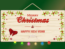 Merry Christmas and New Year wooden sign Royalty Free Stock Images