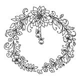 Merry Christmas and New Year wreath with little bells. Merry Christmas and New Year wreath of branches and flowers with little bells. Black and white Royalty Free Stock Photos