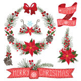 Merry Christmas ,New Year Wreath,ribbons,group Stock Images