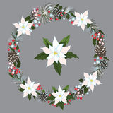 Merry Christmas and New Year Wreath with snow Stock Image