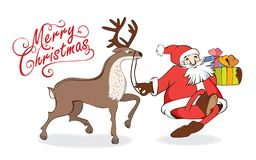 Merry Christmas and New Years card walking Santa Claus with gifts and reindeer. Christmas card with Santa Claus reindeer vector illustration