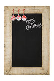 Merry Christmas New Years Chalkboard Blackboard Reclaimed Wood F Stock Photo