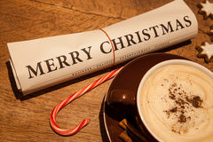 Merry christmas newspaper Royalty Free Stock Images