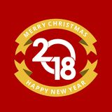 Merry christmas and newyear greetings card with red background. For web design and application interface, also useful for infographics. Vector illustration Royalty Free Stock Image