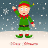 Merry Christmas Night with a Cheerful Elf Royalty Free Stock Images