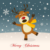 Merry Christmas Night with a Cute Reindeer Royalty Free Stock Photography