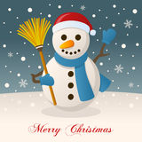 Merry Christmas Night with a Cute Snowman Royalty Free Stock Photos
