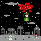 Merry Christmas night, Christmas greeting card Vector. Merry Christmas night, Santa Claus in balloon, snowman Christmas tree and gifts, Christmas greeting card Royalty Free Stock Photos