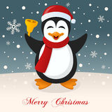 Merry Christmas Night with a Happy Penguin Stock Image