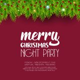 Merry Christmas Night Party Green Leaves background vector illustration