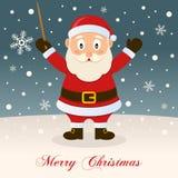 Merry Christmas Night with Santa Claus Stock Image