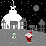 Merry Christmas night, Christmas greeting card Vector. Merry Christmas night, Santa Claus, snowman Christmas tree and Christmas ball, Christmas greeting card Royalty Free Stock Photos
