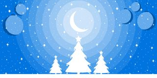 Merry Christmas. Night winter landscape with a crescent, snowflakes and Christmas trees. Xmas background. Vector. Illustration Stock Photos