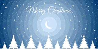 Merry Christmas. Night winter landscape with a crescent, snowflakes and Christmas trees. Xmas background. Vector. Illustration Royalty Free Stock Photos