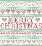 Merry Christmas Nordic style and inspired by Scandinavian cross stitch craft seamless Christmas pattern in red, green, white. Merry Christmas Nordic style and Royalty Free Stock Images