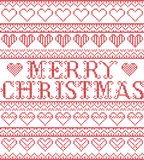 Merry Christmas Nordic style and inspired by Scandinavian cross stitch craft seamless Christmas pattern in red, white with hearts. Merry Christmas Nordic style Stock Photo