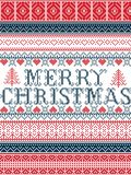 Merry Christmas Nordic style vector seamless Christmas  patterns  inspired by Scandinavian Christmas, festive winter in stitch. Merry Christmas Nordic style Royalty Free Stock Photos