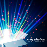 Merry Christmas and Open gift with fireworks from. Light It can be used to design greeting cards Royalty Free Stock Image
