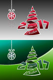 Merry Christmas 2017 Origami Background. Merry christmas 2017 background design with origami pine and snowflake Vector Illustration