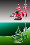 Merry Christmas 2017 Origami Background. Merry christmas 2017 background design with origami pine and snowflake Stock Images