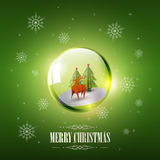 Merry Christmas with Origami Deer in glass sphere bubble and snowflake on green background, vector illustration Stock Photos